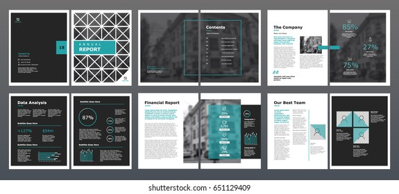 Design annual report,vector template brochures, flyers, presentations, leaflet, magazine a4 size. Grey and blue geometric elements on a white background. - stock vector