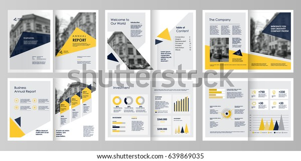 Design annual report,vector template brochures, flyers, presentations, leaflet, magazine a4 size. Yellow and blue geometric elements on a white background. - stock vector