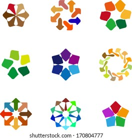 Design arrow logo element. Colorful abstract circle pattern.