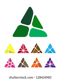 Design arrow logo element. Crushing abstract triangle pattern. Colorful precious stone icons set. A and V icon set.