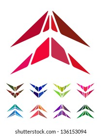 Design arrow logo element. Crushing abstract pattern. Colorful hang gliding, aircraft icons set.