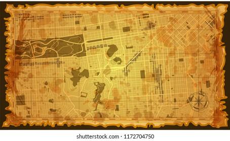 design art map city vintage