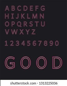 design art modern neon alphabet