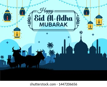 Design the background of Eid al-Adha mubarok with the mosque and qurban animals. can be used as an Eid al-Adha greeting card. flat style vector