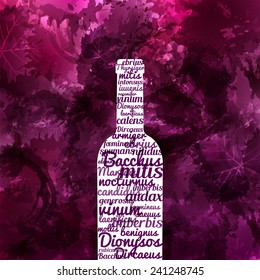 design background of grape and wine stains. Wine bottle with texts Bacchus (god of wine)