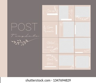 Design backgrounds for social media banner.Set of Instagram post frame templates.Vector cover. Mockup for beauty blog or cosmetic shop. Endless square beige puzzle layout for promotion.