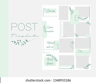 Design backgrounds for social media banner.Set of Instagram post frame templates.Vector cover. Mockup for beauty blog or cosmetic shop. Endless square green puzzle layout for promotion.