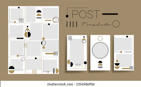 Design backgrounds for social media banner.Set of instagram post frame templates.Vector instagram stories cover. Mockup for personal blog or shop. Endless square puzzle layout for promotion.