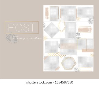 Design backgrounds for social media banner.Set of instagram post frame templates.Vector cover. Mockup for personal blog or shop. Endless square puzzle layout for promotion.