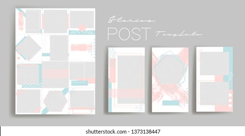 Design backgrounds for social media banner.Set of instagram stories and post frame templates.Vector cover. Mockup for personal blog or shop.Layout for promotion.