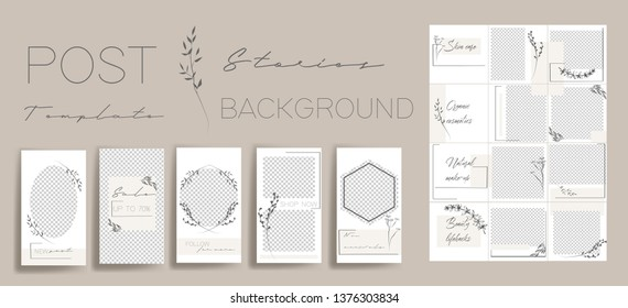 Design backgrounds for social media banner.Set of instagram stories and post frame templates. Vector stories cover. Mockup for personal blog or shop. Endless square puzzle layout for promotion.