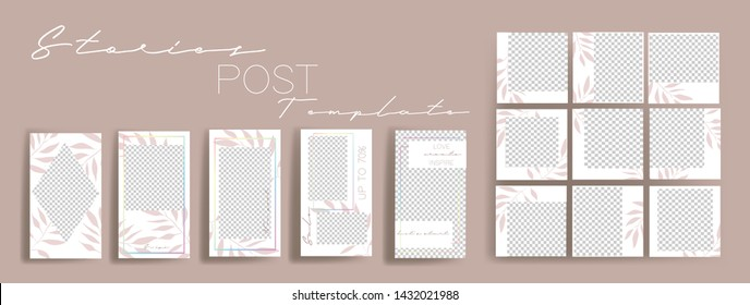 Design backgrounds for social media banner.Set of instagram stories and post frame templates.Vector cover. Mock up for personal blog or shop.Layout for promotion.Endless square puzzle layout for promo