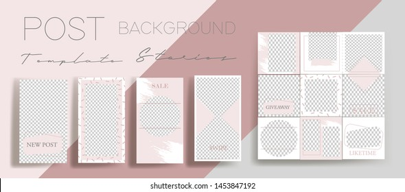 Design backgrounds for social media banner.Set of instagram stories and post frame templates.Vector cover. Mock up for personal blog or shop.Layout for promotion.Endless square puzzle layout for prom