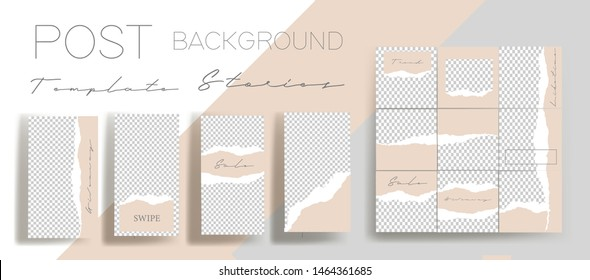 Design backgrounds for social media banner. Set of instagram stories and post frame templates.Vector cover. Mock up for personal blog or shop.Layout for promotion.Endless square puzzle layout