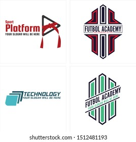 Design badge logo with ribbon triangle red black line art vector suitable for sport technology academy soccer training