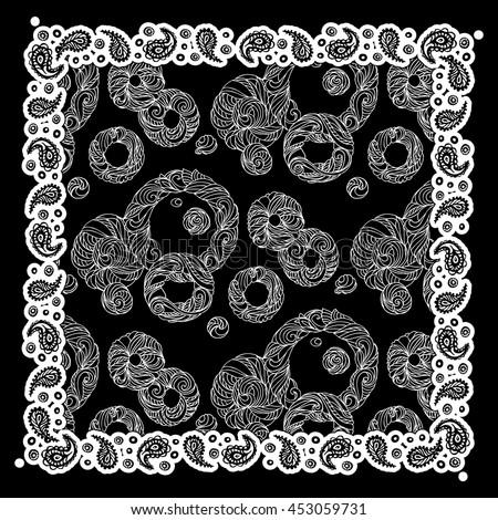 design bandana paisley rings smooth round stock vector royalty free