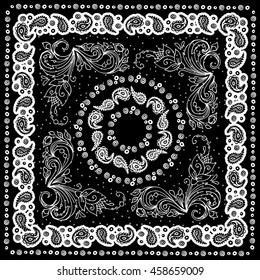 Design bandannas.Artwork for silk neck scarf.Traditional ethnic pattern paisley. Black and white vector image.Template for printing onto fabric, textiles. Paisley and flover.