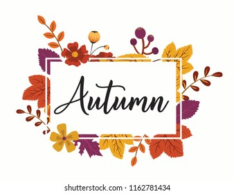 Design banner with autumn logo. Card for autumn season with white frame and herb. Promotion offer withautumn plants, leaves and flowers decoration. Vector