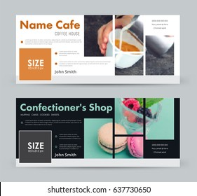 Design a banner with blocks for images for social networks.  template cover  for advertising a coffee house, a pastry shop, a bakery and so on. Photo blurred for  sample