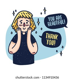 Design a banner with a cute blonde girl. A poster with a cartoon character of a woman receiving a compliment. A beautiful face with emotions of joy and embarrassment. Vector.