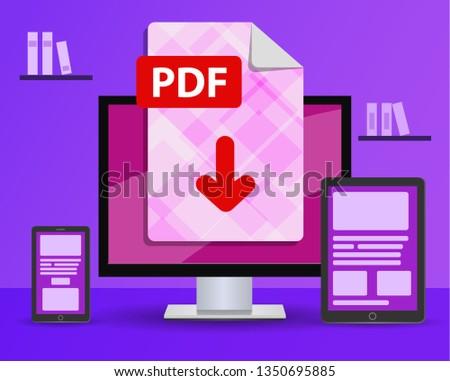 Design Banner Download PDF File Desktop Stock Vector