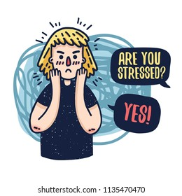 Design a banner with the head of a young sad woman. A cartoon girl with stress. Illustration of an angry character with a anxiety face and headache. Vector.