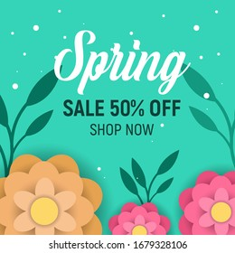 Design banner with hello spring logo. Card for spring sale season with frame and herb. Promotion offer with spring plants, leaves and flowers decoration. 3d peper cut colorful design.