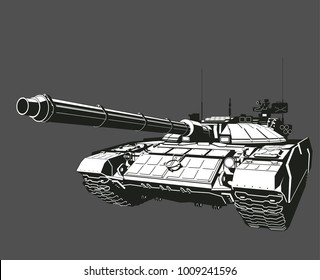 Design banner Illustration with Russian main battle tank Isolated on black background.