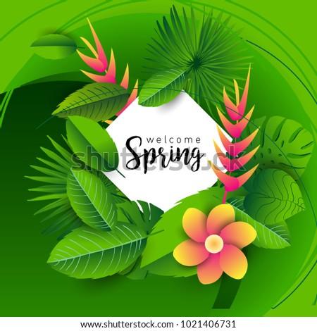 Design Banner Lettering Design Welcome Spring Stock Vektorgrafik