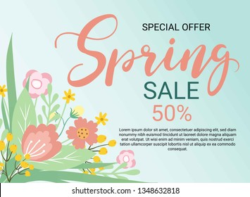 Design banner with spring flowers. Vector card for greeting card, sale,offer,promotion