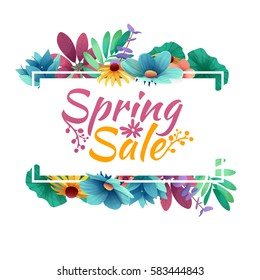 Design banner with  spring sale logo. Discount card for spring season with white frame and herb. Promotion offer with spring plants, leaves and flowers decoration.  Vector