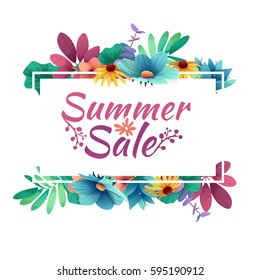 Design banner with  summer sale logo. Discount card for summer season with white frame and herb. Promotion offer with summer plants, leaves and flowers decoration.  Vector