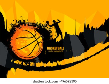 Design banner template for basketball. The poster in grunge style with the player. Geometric, polygon background. Fiery ball. EPS file is layered.