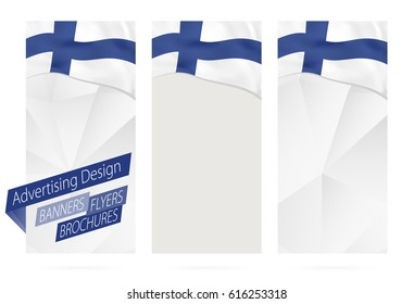 Design of banners, flyers, brochures with flag of Finland. Leaflet Template for website or printing. Vector Illustration.