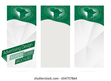 Design of banners, flyers, brochures with flag of African Union. Leaflet Template for website or printing. Vector Illustration.