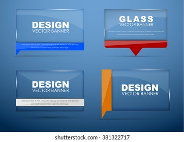 Design banners glass with bubble stem quotes red, blue, black and orange. Vector illustration. Set