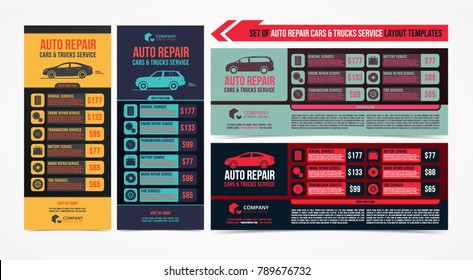 Design of banners. Set of Auto Repair Cars & Trucks Service layout, cars for sale & rent brochure, mockup flyer. Vector illustration.