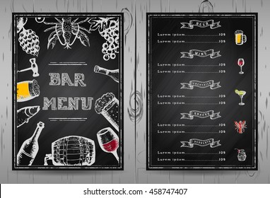 Design bar menu, template restaurant menu, chalkboard menu