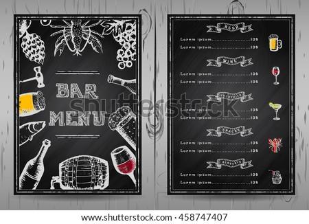 design bar menu template restaurant menu stock vector royalty free