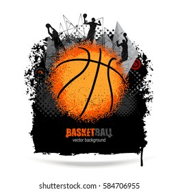 Design for basketball. Grunge background. Abstract ball. EPS file is layered.