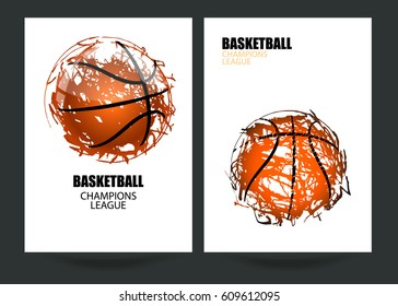 Design for basketball. Set posters for the tournament. Abstract background. Streetball. EPS file is layered.