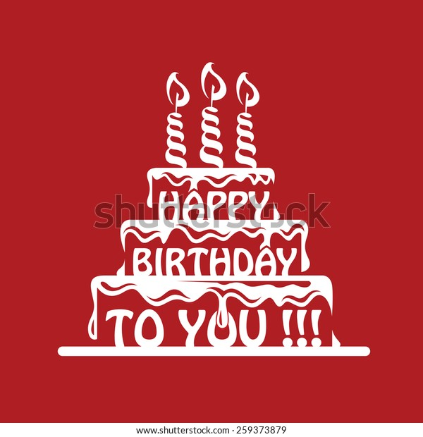 Design Birthday Cake On Red Background Stock Vector Royalty Free 259373879