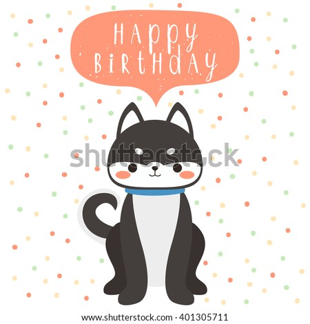 Design Of Birthday Card With Cute Cartoon Baby Husky Happy Text Message On Polka