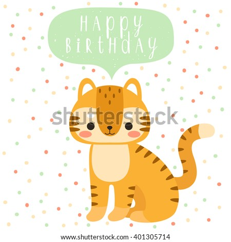 Design Of Birthday Card With Cute Cartoon Baby Tiger Happy Text Message On Polka