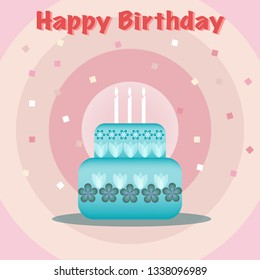 Design of birthday card pink tone background and blue cake and candle. Vector design.