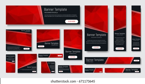 design of black banners of standard size. Templates with red polygonal elements and buttons. Vector illustration. Set