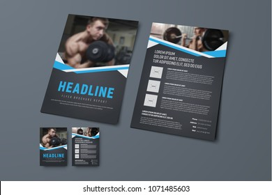 design of a black brochure with blue ribbons and a place for photos. Template of the front and back pages of the flyer with for business, advertising and printing. Sport sample. Vector illustration