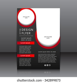 Design of the black flyer vector illustration with red elements and place for pictures. Poster template for your business.