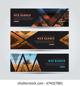 Design of black horizontal web banners. Templates of standard size with triangles for a photo. Vector illustration. Set