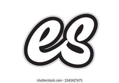 Design of black and white alphabet letter combination es e s suitable as a logo for a company or business